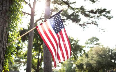 US flag in Sheperd Park Plaza